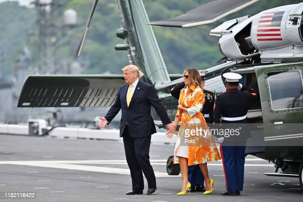 President Donald Trump and his wife Melania Trump onboard the Japan's navy ship Kaga on May 28 2019 in Yokosuka Kanagawa Japan US President Donald...