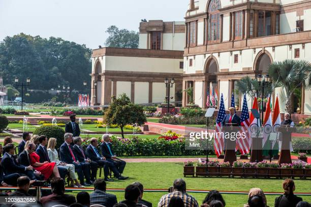 President Donald Trump and Indian Prime Minister Narendra Modi during the Exchange of Agreements at Hyderabad House, on February 25, 2020 in New...