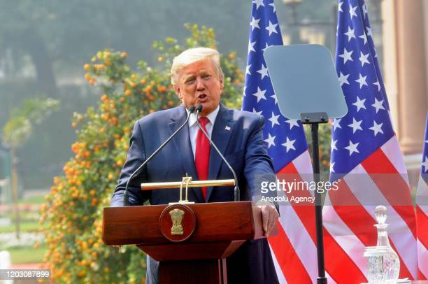 President Donald Trump and Indian Prime Minister Narendra Modi hold a joint press conference at Hyderabad House in Delhi India on February 25 2020