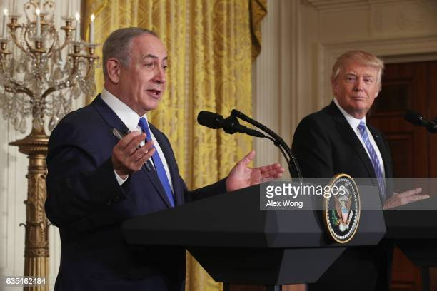 S President Donald Trump and Israel Prime Minister Benjamin Netanyahu participate in a joint news conference at the East Room of the White House...
