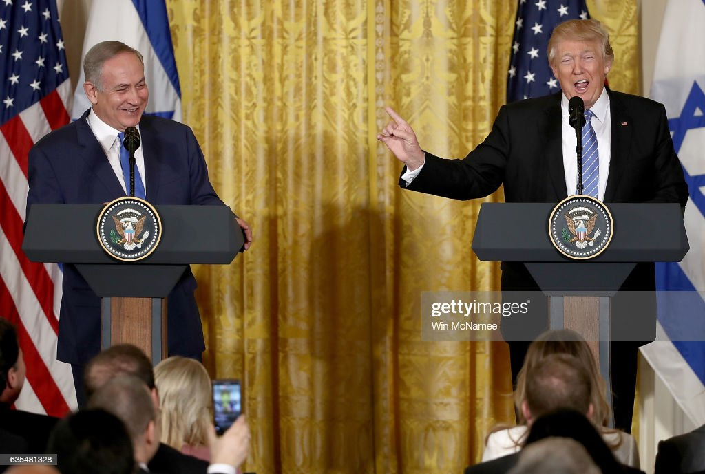 U.S. President Donald Trump (R) and Israel Prime Minister Benjamin Netanyahu (L) answer questions during a joint news conference in the East Room of the White House February 15, 2017 in Washington, DC. President Trump hosted Prime Minister Netanyahu for talks for the first time since Trump took office on January 20.