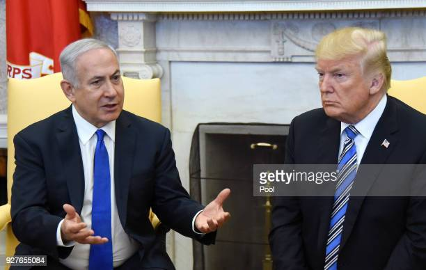 US President Donald Trump and Israel Prime Minister Benjamin Netanyahu meet in the Oval Office of the White House March 5 2018 in Washington DC The...