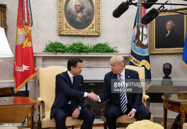 President Donald Trump and Italian Prime Minister Giuseppe Conte shake hands during a meeting in the Oval Office of the White House in Washington DC...