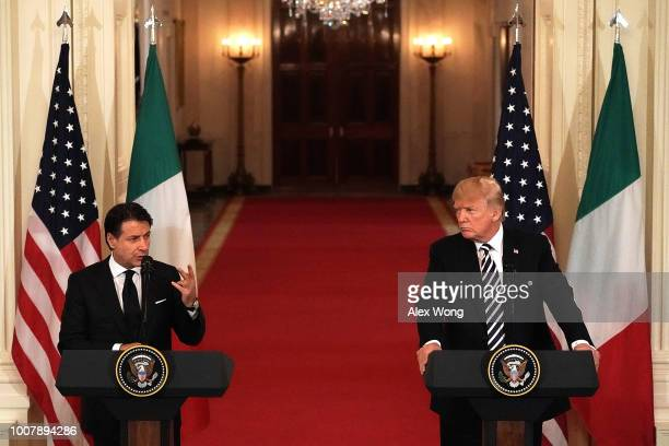 S President Donald Trump and Italian Prime Minister Giuseppe Conte participate in a joint news conference at the East Room of the White House July 30...