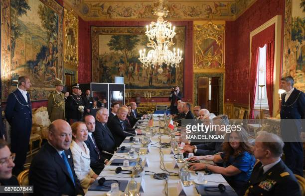 US President Donald Trump and Italy's President Sergio Mattarella take part in a bilateral meeting at the Quirinale Presidential Palace on May 24...