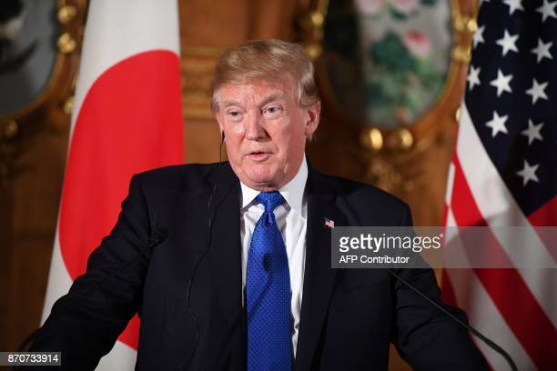 US President Donald Trump and Japanese Prime Minister Shinzo Abe attend a joint press conference at Akasaka Palace in Tokyo on November 6 2017 Donald...