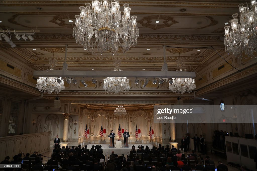 U.S. President Donald Trump and Japanese Prime Minister Shinzo Abe hold a news conference at Mar-a-Lago resort on April 18, 2018 in West Palm Beach, Florida. The two leaders are meeting for a multi-day working meeting where they are discussing world events.