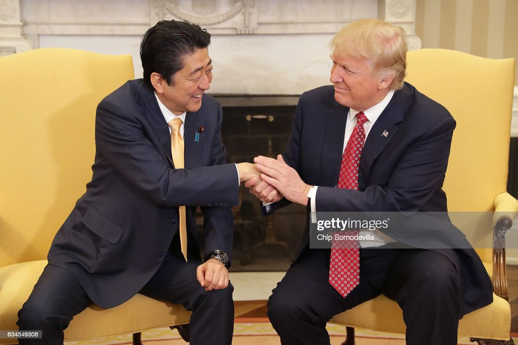 President Trump Holds Bilateral Meeting With Japanese PM Shinzo Abe : News Photo