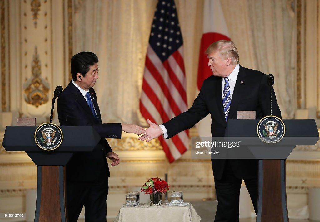 President Trump And Japanese Prime Minister Abe Hold Joint Press Conference At Mar-a-Lago