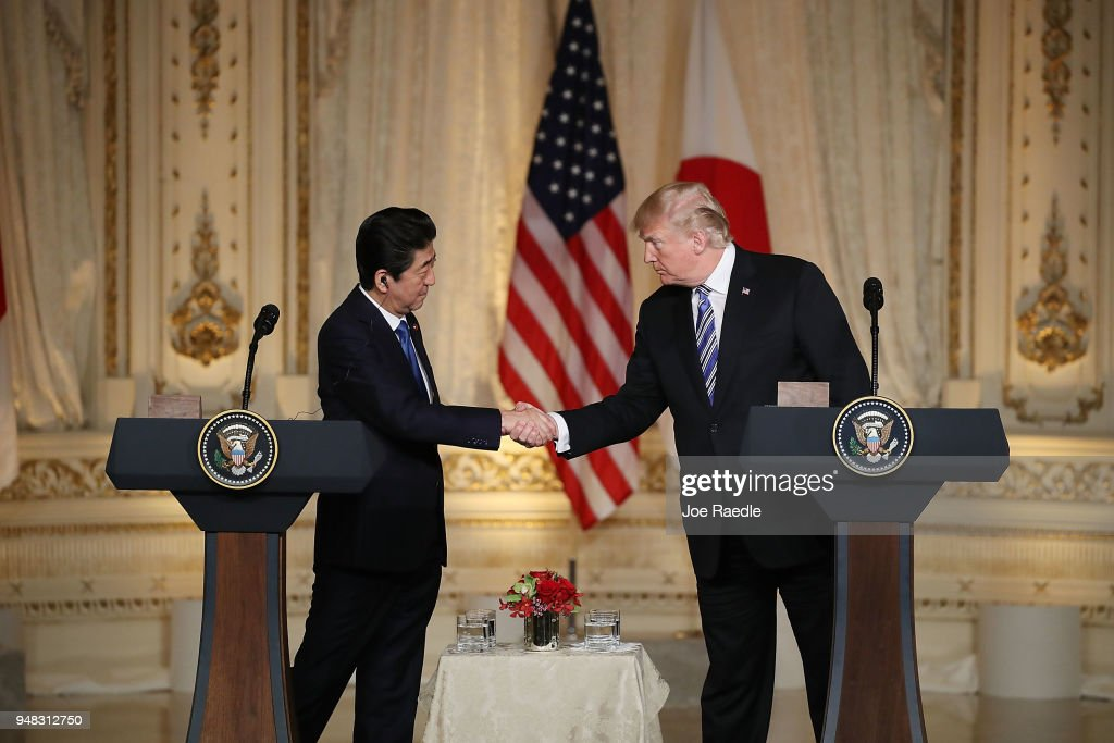 President Trump And Japanese Prime Minister Abe Hold Joint Press Conference At Mar-a-Lago : News Photo