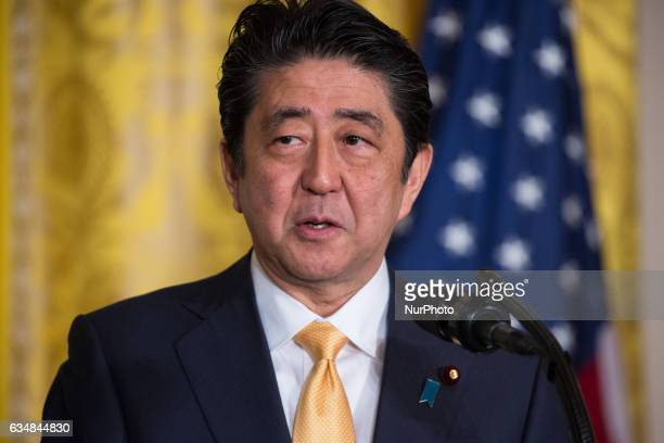 US President Donald Trump and Japanese Prime Minster Shinz Abe held a joint press conference in the East Room of the White House on February 10 2017...