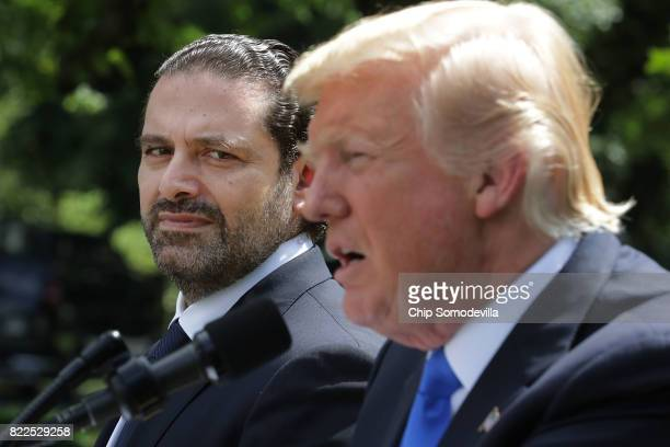S President Donald Trump and Lebanese Prime Minister Saad Hariri hold a joint news conference in the Rose Garden at the White House July 25 2017 in...