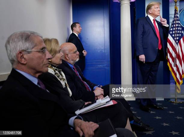President Donald Trump and members of the task force participate in the daily coronavirus briefing at the White House on April 22, 2020 in...