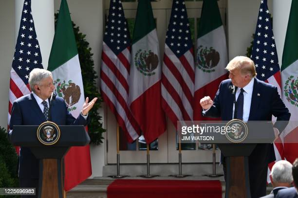 President Donald Trump and Mexican President Andres Manuel Lopez Obrador hold a joint press conference in the Rose Garden of the White House on July...