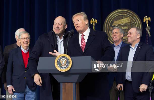 US President Donald Trump and National Economic Council Director Gary Cohn affirm their support for each other at Camp David on January 6 2018 in...