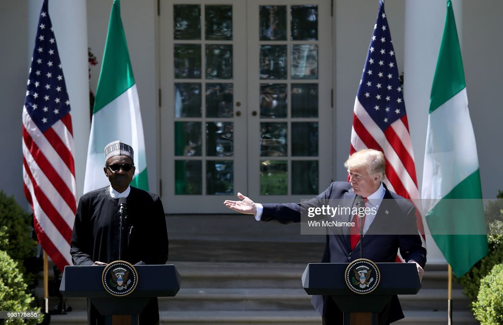U.S. President Donald Trump (R) and Nigerian President Muhammadu Buhari (L) answer questions during a joint press conference in the Rose Garden of the White House April 30, 2018 in Washington, DC. The two leaders also met in the Oval Office to discuss a range of bilateral issues earlier in the day.