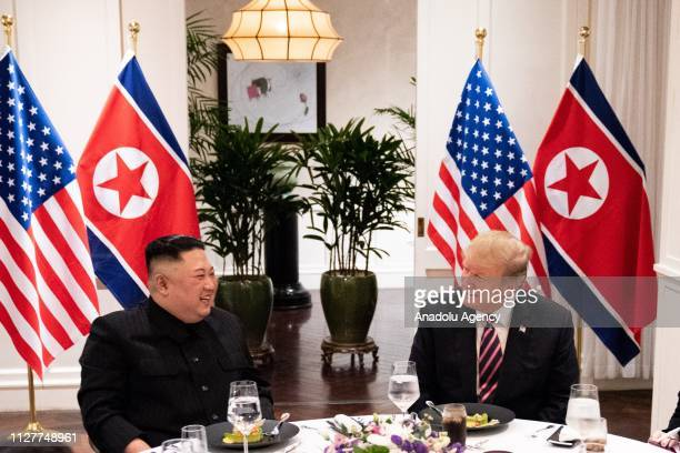 US President Donald Trump and North Korean leader Kim Jong Un meet at the Sofitel Legend Metropole hotel in Hanoi for their second summit meeting in...