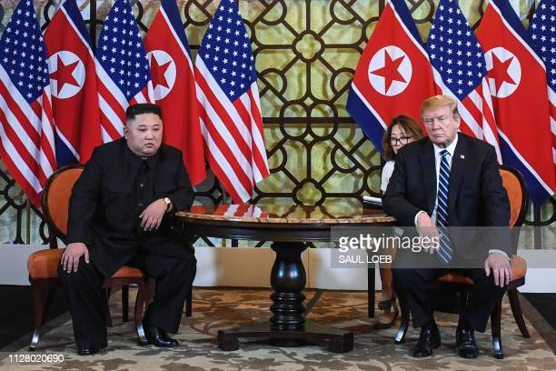 President Donald Trump and North Korea's leader Kim Jong Un hold a meeting during the second USNorth Korea summit at the Sofitel Legend Metropole...