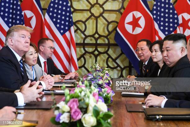 US President Donald Trump and North Korea's leader Kim Jong Un hold a bilateral meeting during the second USNorth Korea summit at the Sofitel Legend...