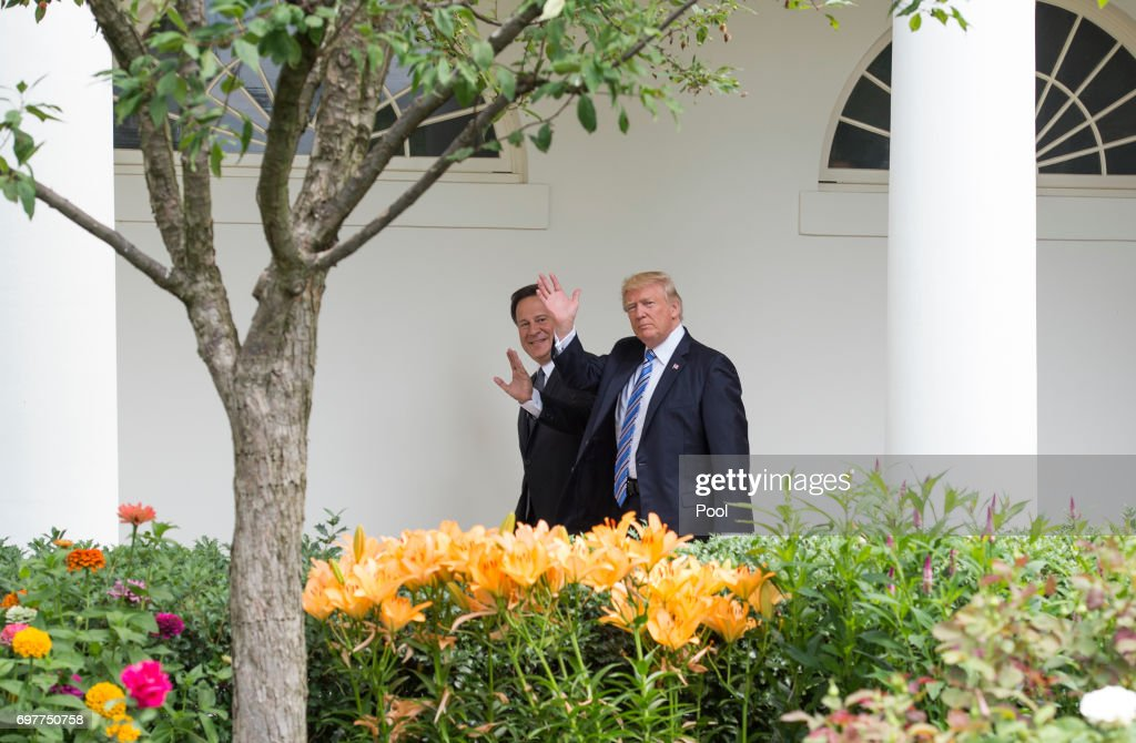 President Donald Trump and Panama's President Juan Carlos Varela walk to the Oval Office for their meeting at the White House on June 19, 2017 in Washington, DC. According to the White House, the two presidents will talk about how to curb 'transnational organized crime, illegal migration, and illicit substances' and the continued political and economic instability in Venezuela.