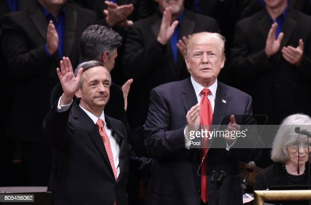 US President Donald Trump and Pastor Robert Jeffress participate in the Celebrate Freedom Rally at the John F Kennedy Center for the Performing Arts...