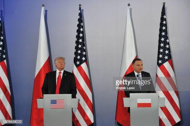 President Donald Trump and Polish President Andrzej Duda during Three Seas Initiative Summit at Warsaw Royal Castle Poland on July 6th 2017