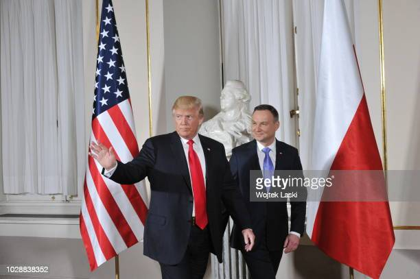 President Donald Trump and Polish President Andrzej Duda during Three Seas Initiative Summit at Warsaw Royal Castle, Poland on July 6th, 2017.