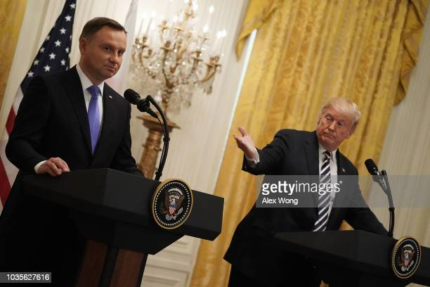 S President Donald Trump and Polish President Andrzej Sebastian Duda participate in a joint news conference at the East Room of the White House...