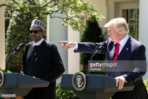 US President Donald Trump and President Muhammadu Buhari of the Federal Republic of Nigeria hold a joint press conference in the Rose Garden of the...