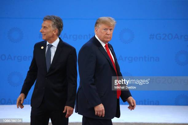 US President Donald Trump and President of Argentina Mauricio Macri attend the welcoming ceremony prior to the G20 Summit's Plenary Meeting on...