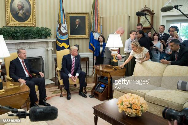 President Donald Trump and President of Turkey Recep Tayyip Erdogan meet in the Oval Office of the White House on May 16 2017 in Washington DC Trump...