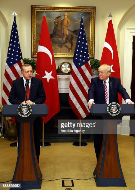 President Donald Trump and President of Turkey Recep Tayyip Erdogan hold a joint press conference after their meeting at the Oval Office of the White...