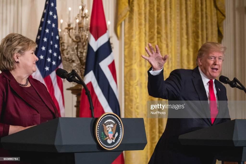 President Trump and Prime Minister Erna Solberg of Norway Joint Press Conference : News Photo