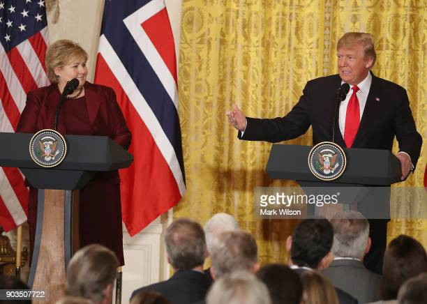S President Donald Trump and Prime Minister Erna Solberg of Norway speak to the media during a news conference at the White House on January 10 2018...