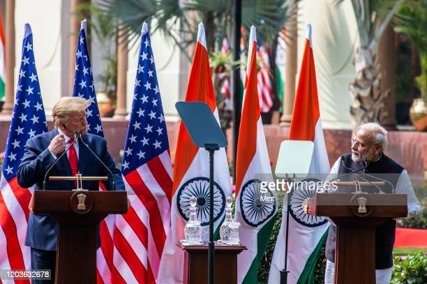 President Donald Trump and Prime Minister Narendra Modi during their joint statement, at Hyderabad House, on February 25, 2020 in New Delhi, India.