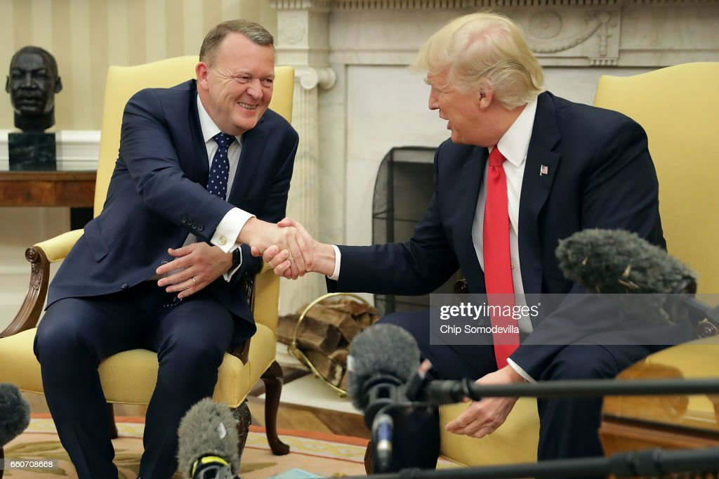 U.S. President Donald Trump (R) and Prime Minister Of Denmark Lars Lokke Rasmussen shake hands for the press in the Oval Office at the White House March 30, 2017 in Washington, DC. The White House said Trump looks forward to talking with Rasmussen about 'deepening already robust economic ties, defeating ISIS, and strengthening our defense and security relationship, both bilaterally and through the North Atlantic Treaty Organization.'