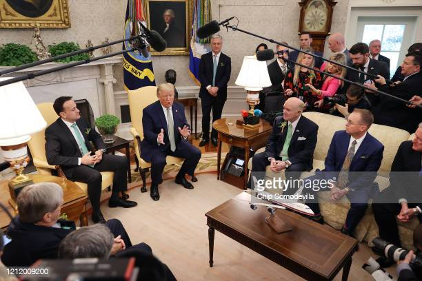 S President Donald Trump and Prime Minister of Ireland Leo Varadkar talk to journalists before their meeting in the Oval Office at the White House...