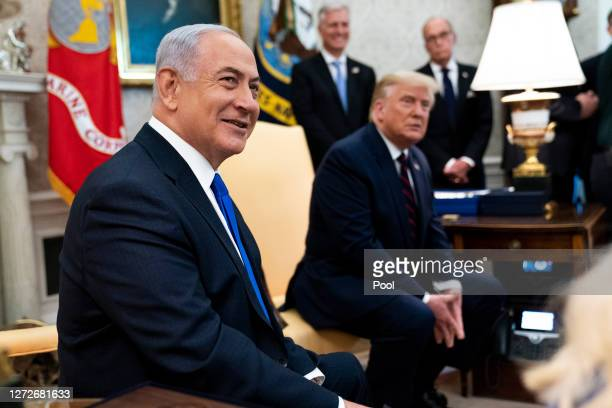 President Donald Trump and Prime Minister of Israel Benjamin Netanyahu participate in a meeting in the Oval Office of the White House on September...