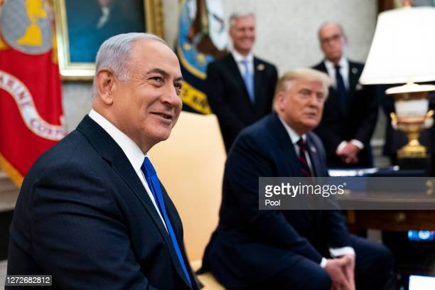 S President Donald Trump and Prime Minister of Israel Benjamin Netanyahu participate in a meeting in the Oval Office of the White House on September...