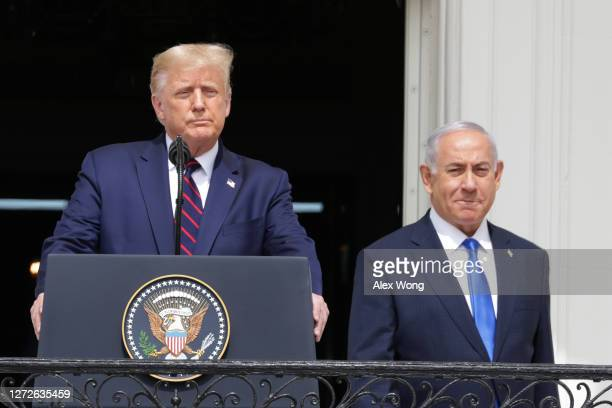 President Donald Trump and Prime Minister of Israel Benjamin Netanyahu participate in the signing ceremony of the Abraham Accords on the South Lawn...