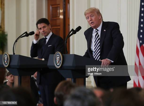 S President Donald Trump and Prime Minister of Italy Giuseppe Conte speak and take questions from the media after meeting in the Oval Office on July...