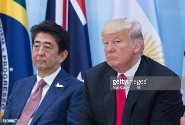 President Donald Trump and Prime Minister of Japan Shinzo Abe attend a panel discussion titled 'Launch Event Women's Entrepreneur Finance Initiative'...