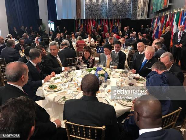 US President Donald Trump and Prime Minister of Japan Shinzo Abe attend a dinner hosted by United Nations Secretary General Antonio Guterres within...