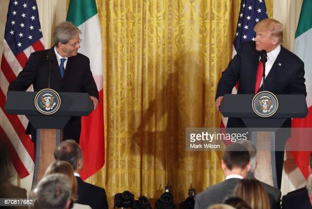S President Donald Trump and Prime Minister Paolo Gentiloni of Italy participate in a news conference in the East Room at the White House on April 20...
