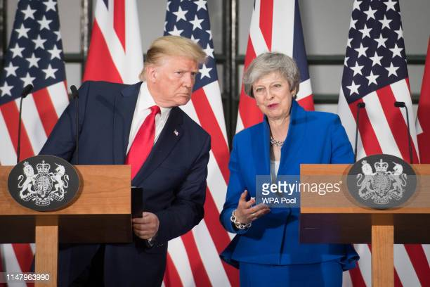 President Donald Trump and Prime Minister Theresa May attend a joint press conference at the Foreign Commonwealth Office during the second day of his...