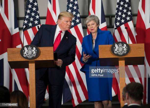 President Donald Trump and Prime Minister Theresa May attend a joint press conference at the Foreign Commonwealth Office during the second day of the...