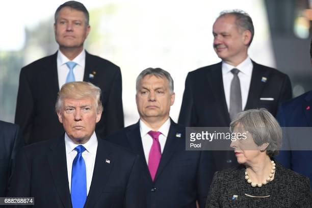 President Donald Trump and Prime Minister Theresa May during the North Atlantic Treaty Organisation summit on May 25 2017 in Brussels Belgium