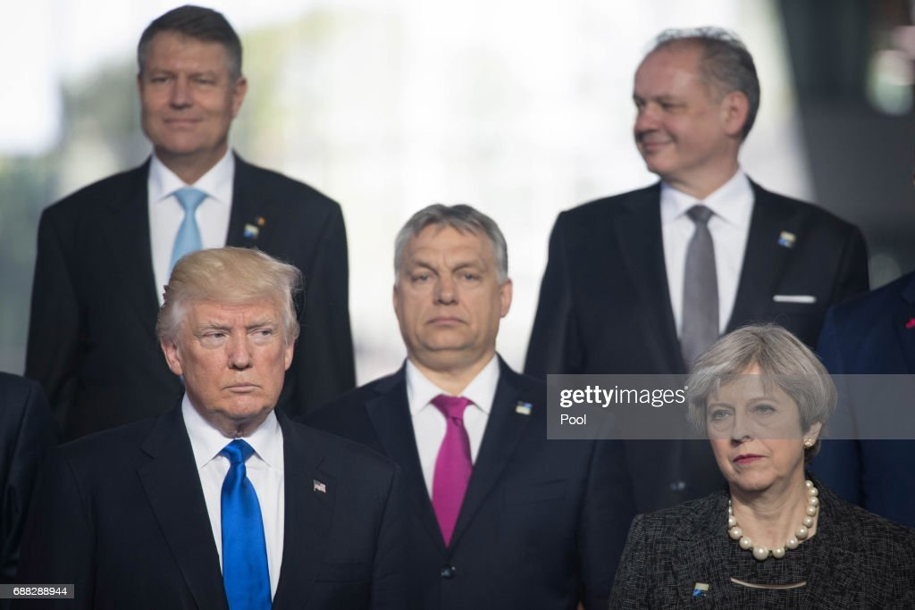 US President Donald Trump (front left) and Prime Minister Theresa May (front right) during the North Atlantic Treaty Organisation (NATO) summit on May 25, 2017 in Brussels, Belgium.
