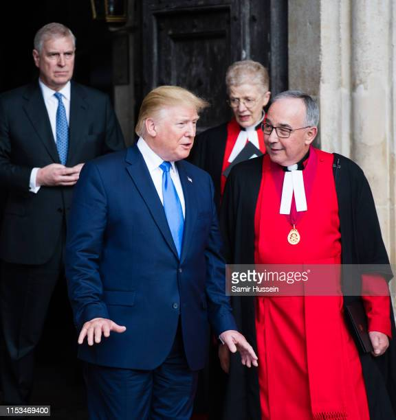 President Donald Trump and Prince Andrew Duke of York visit Westminster Abbey on June 03 2019 in London England President Trump's threeday state...
