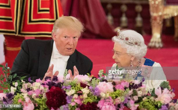 President Donald Trump and Queen Elizabeth II attend a State Banquet at Buckingham Palace on June 3, 2019 in London, England. President Trump's...